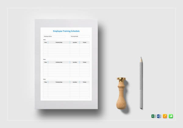 employee training schedule mockup
