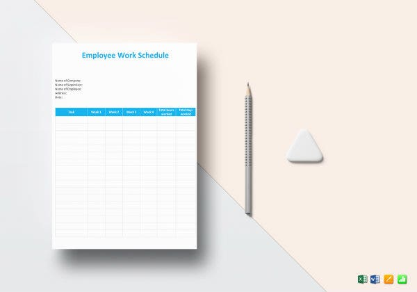 employee work schedule template mockup