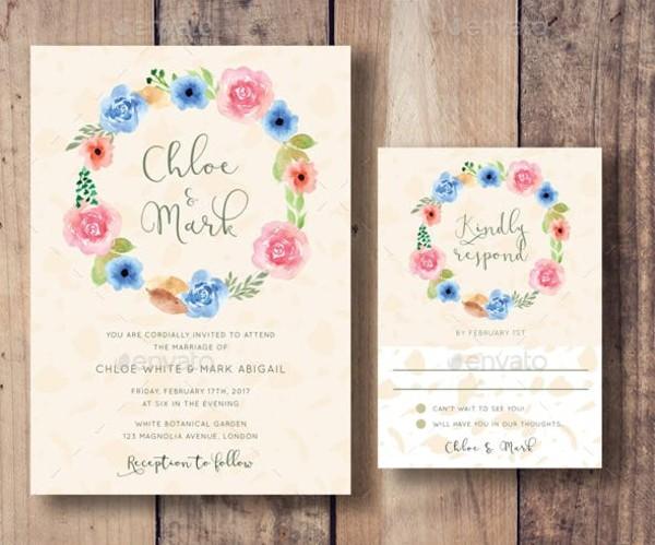 floral wreath wedding invitation ip