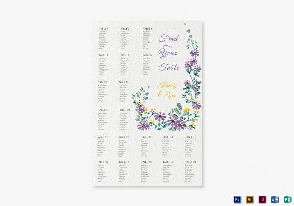 garden wedding seating chart 1
