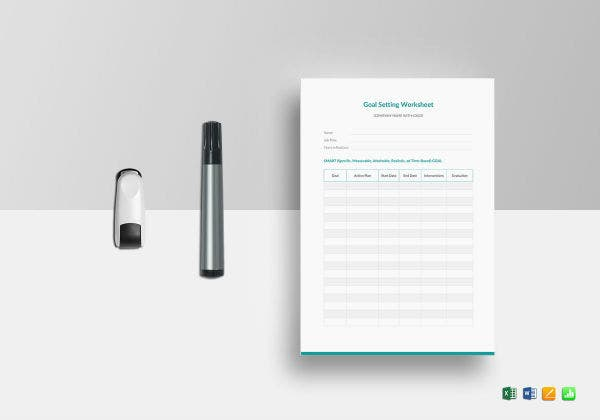 goal setting worksheet template mockup