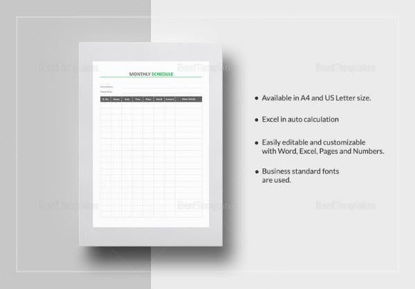 monthly schedule template 767x536