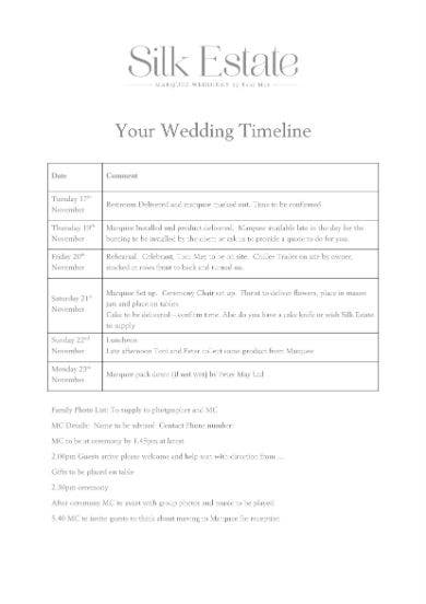 sample wedding timeline 11
