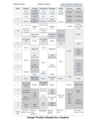 student schedule sample 1
