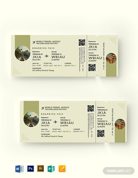 vacation travel ticket