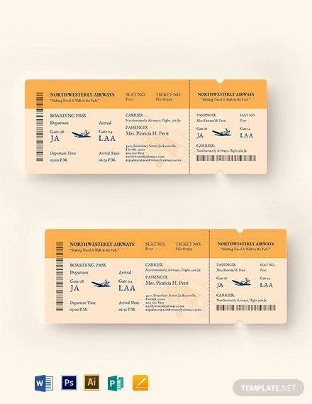 vintage airline ticket