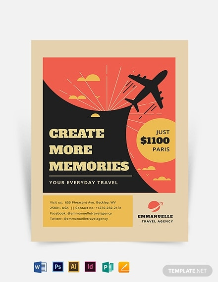 vintage travel flyer template 2