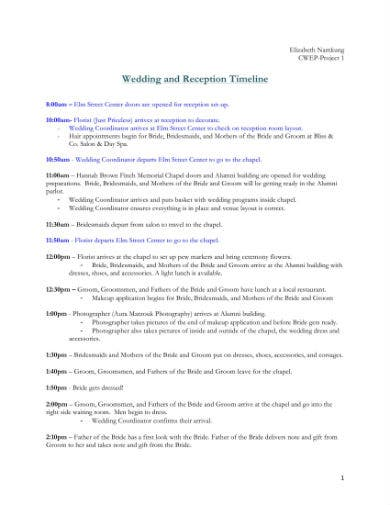 wedding and reception timeline 1