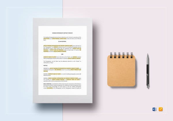 wedding photography contract template mockup