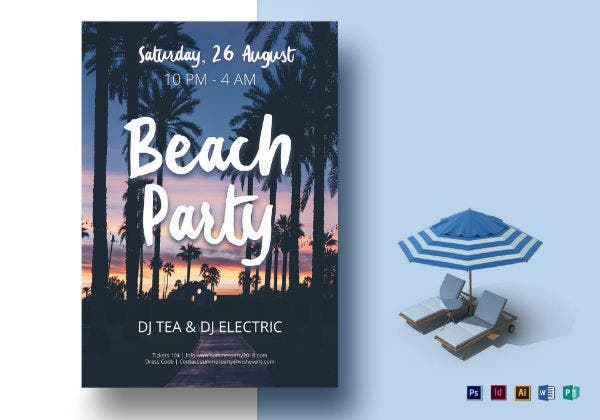 1 beach party flyer template
