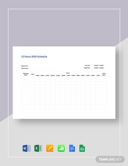 12 hours shift schedule template
