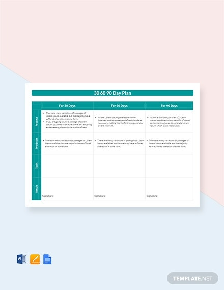 30 60 90 day plan template 1