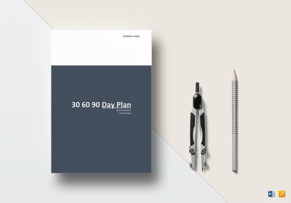 30 60 90 day plan template mockup