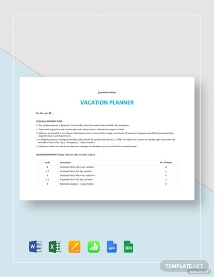 8 Vacation Planner Templates Google Docs Ms Word Pages Pdf Ms Excel Numbers Google Sheets Adobe Illustrator Photoshop Free Premium Templates