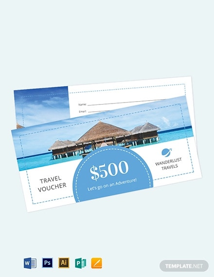 500 travel voucher template