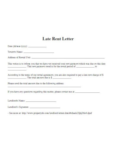 a simple late rent letter template