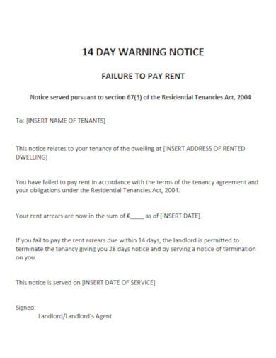 a warning notice for late rent