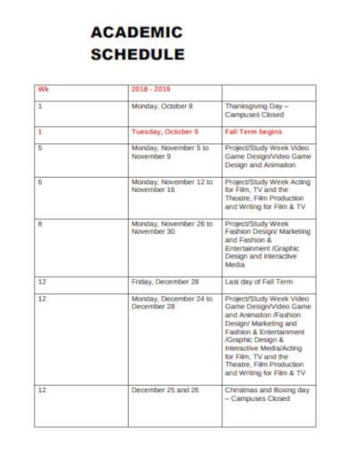 academic marketing schedule example