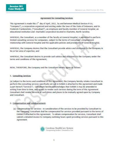 agreement for consulting services template