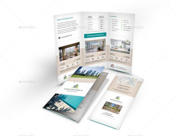 apartment real estate tri fold brochure