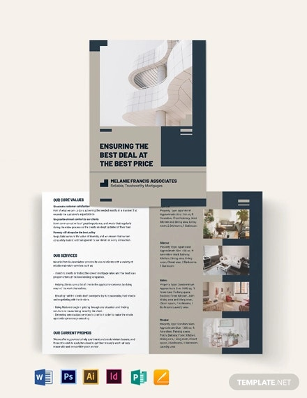 apartment condo mortage broker bi fold brochure template