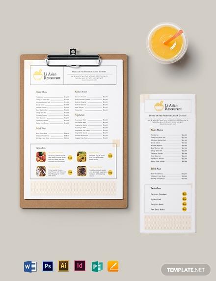 asian restaurant menu template 1