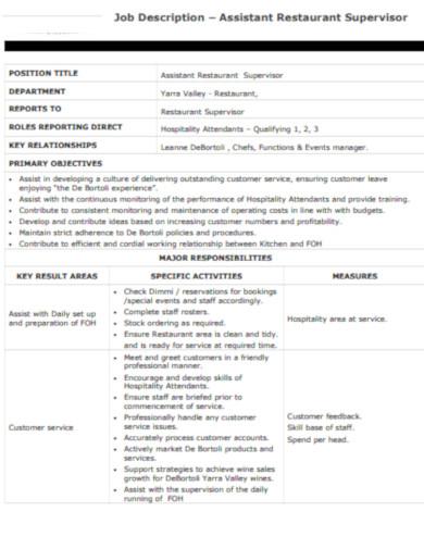 assistant restaurant supervisor job description template