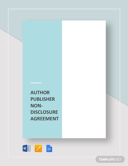 author publisher non disclosure agreement