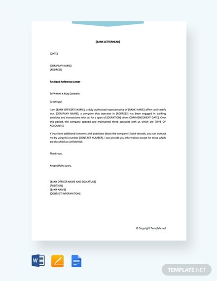 bank reference letter for company