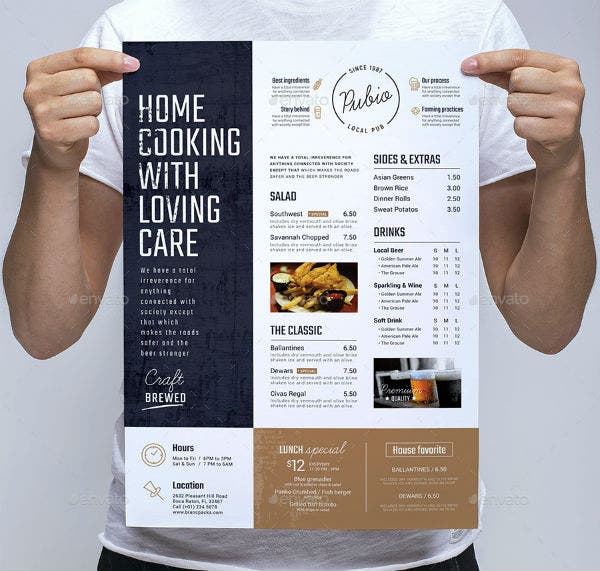 bar menu poster template