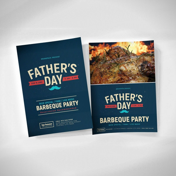 barbecue party fathers day flyer