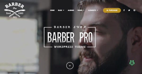 barber pro parallax effect supported wordpress theme
