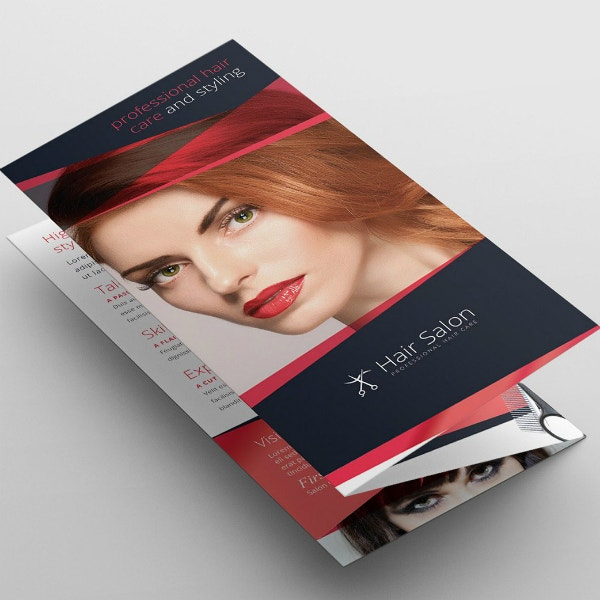 barbershop salon tri fold brochure template