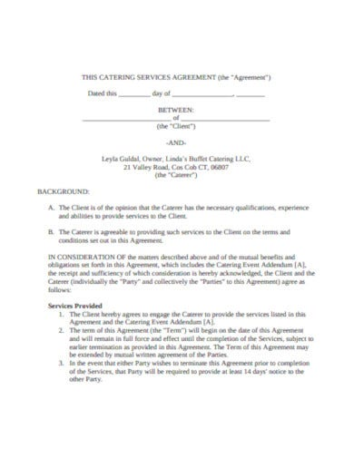 basic catering service agreement format