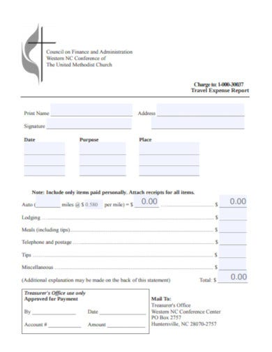 basic church expense report format