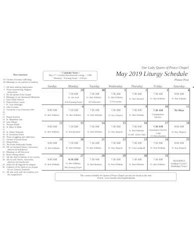 basic church schedule in pdf