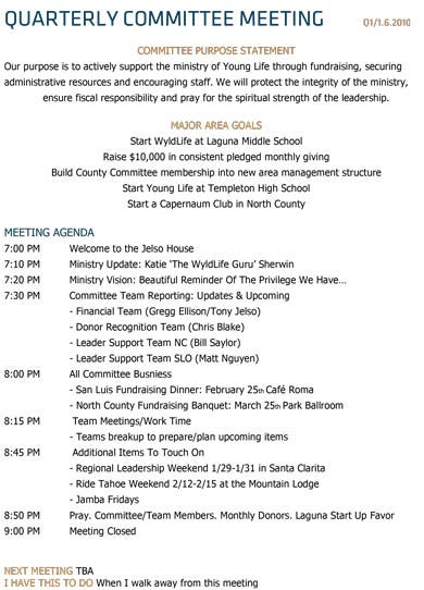 basic committee meeting agenda