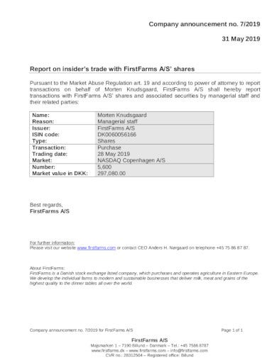 basic company announcement in pdf