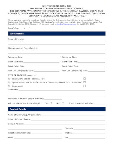 basic event booking form in pdf