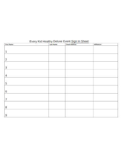 basic event sign in sheet