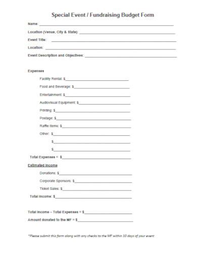 basic fundraising budget form