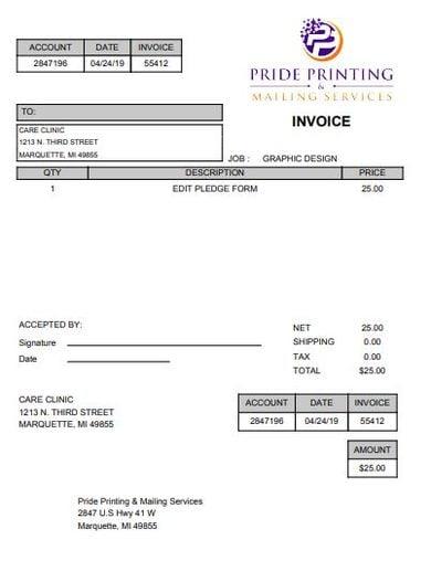 basic graphic design invoice template