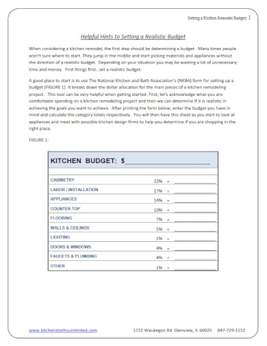 basic kitchen remodel budget template1