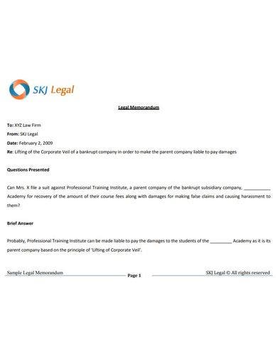 basic legal memorandum template