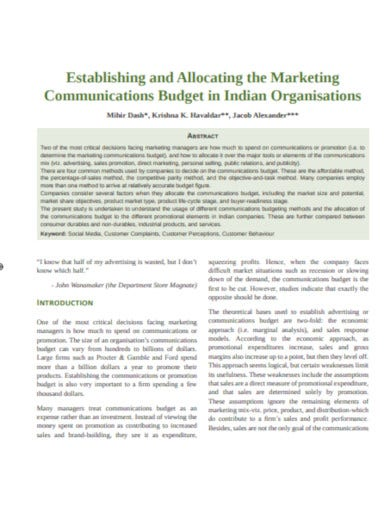 basic marketing budget template