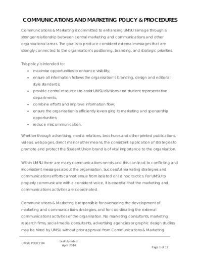 basic marketing policy template
