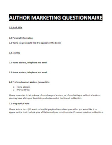 basic marketing questionnaire template