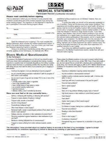 basic medical questionnaire example