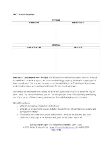 basic nonprofit swot analysis template
