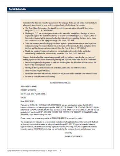 basic pre suit notice letter